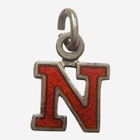 Vintage Red Enamel Letter 'N' Charm - Initial, Alphabet