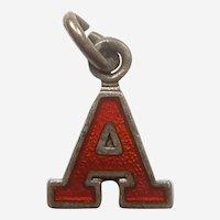 Vintage Red Enamel Letter 'A' Charm - Initial, Alphabet