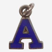 Vintage 1940s Blue Enamel Letter 'A' Charm - Initial, Alphabet