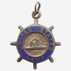 United States Navy USN Sterling Silver and Blue Enamel Charm - Ship's Wheel, Military