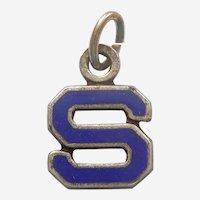Vintage 1940s Blue Enamel Letter 'S' Charm - Initial, Alphabet
