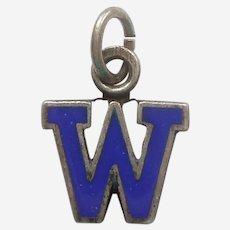 Vintage 1940s Blue Enamel Letter 'W' Charm - Initial, Alphabet