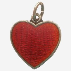 Vintage 1940s Small Red Enamel Heart Charm - Sterling Silver - Sweetheart