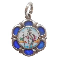 Scalloped St. Christopher Charm - 835 Silver and Blue Enamel - Rome Roma - Seal of the Vatican and the Holy See - Pendant, Medal