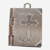 Holy Bible with Cross Charm Opens to Lord's Prayer - Sterling Silver Locket Pendant