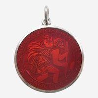 LARGE Charles Thomae St. Christopher Charm / Pendant / Medal - Sterling Silver and RED Guilloche Enamel