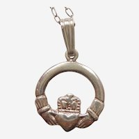 Irish Claddagh Sterling Charm or Pendant on a Silver Chain - Friendship Loyalty Love