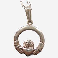 Irish Claddagh Sterling Charm or Pendant on a Silver Chain - Friendship Loyalty Love
