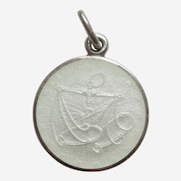 LIBRA, the SCALES, Sterling Silver and WHITE Enamel Zodiac Charm or Pendant - Charles Thomae