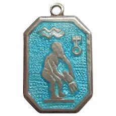 AQUARIUS, the WATERBEARER, Sterling Silver and BLUE Enamel Zodiac Charm or Pendant - T.L.M. / Thomas L Mott / TLM - England