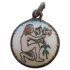 Vintage European Enamel Zodiac Charm - Virgo the Maiden