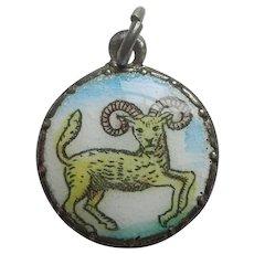 Aries the Ram - Vintage European Enamel Zodiac Charm - Astrology, Horoscope
