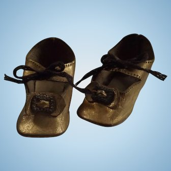 Gold Leather Doll Shoes w/Heels