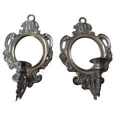 Two German White Metal Wall Sconces, Marked