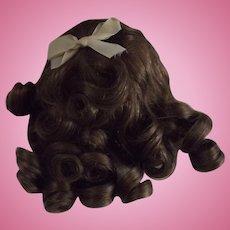 French Human Hair Doll Wig, Medium Brown, Tagged