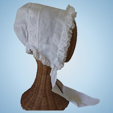White Lace Trimmed Bonnet For a Larger Doll, Hand Sewn