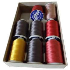 Eight Large Spools of Silk Thread, Assorted Colors