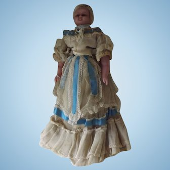 "22"" Poured Wax Doll With Fabulous Original Dress"