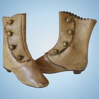 Pair of Antique Leather Doll Boots--JJ Mark