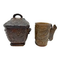 Civil War Soldier Carved Wood Tureen and Cup