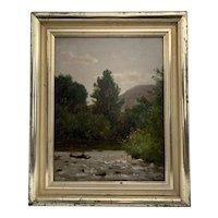 """On the Upper Delaware"" by Worthington (Thomas) Whittredge  (1820-1910)"