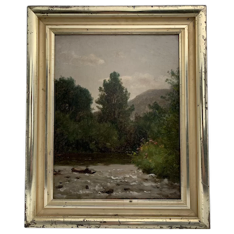 """On the Upper Delaware"" by Worthington (Thomas) Whittredge  (1820-1910)"
