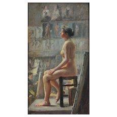 Portrait - Nude in Artist's Studio by Addison Thomas Millar (1860-1913)