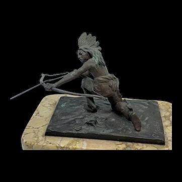 American Indian Archer Bronze Sculpture by C. Kauba