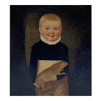 Early 19th C. Folk Art Portrait of Boy and Rabbit
