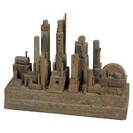 Futuristic City Sculpture in Driftwood