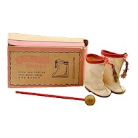 """Vintage Premier Doll Accessories Co.  """"Dolly's Shoes""""  White Majorette Boots with Matching Baton"""