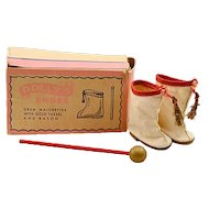"Vintage Premier Doll Accessories Co.  ""Dolly's Shoes""  White Majorette Boots with Matching Baton"