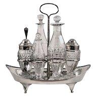 ca 1801 George III Scotland Sterling Silver and Thistle Pattern Glass Cruet Set