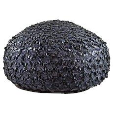 Vintage Navy Blue Net & Straw Hat