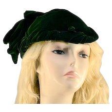 Elegant Juliette Style Lush Forest Green Velvet Hat
