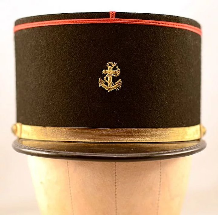 a31e11088 Vintage Black Wool & Gold Banded French Marine Kepi Hat
