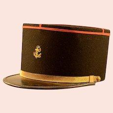 Vintage Black Wool & Gold Banded French Marine Kepi Hat