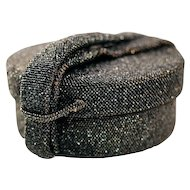 Glitzy Cylindrical Black/Gray Beaded Box Style Evening Bag