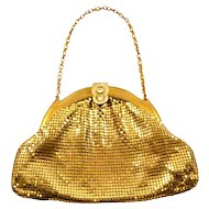Vintage Whiting & Davis Goldtone Mesh Bag with Rhinestone Clasp