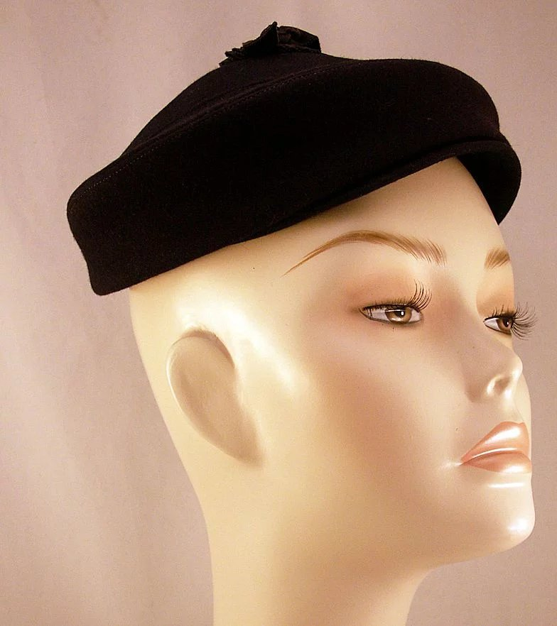 Fabulous I Magnin Navy Blue Felt Hat With Original