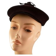 Fabulous I. Magnin Navy Blue Felt Hat with Original Matching Hat Pin