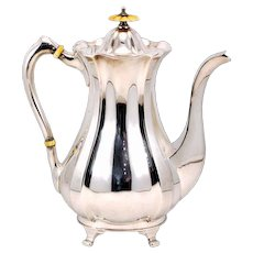 Elegant Antique John Round & Son EPNS Coffee Pot With Bone Accents - c.1886-1887