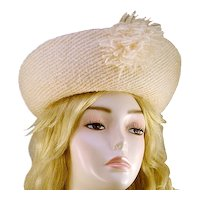 ca 1960s Dramatic Vincent Harmik White Wool Hat