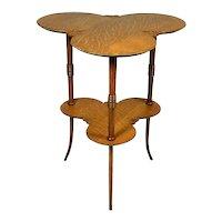 Vintage Double Clover Leaf Quarter Sawn Oak Occasional Table
