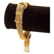 Victorian 14K Solid Gold Mesh Unusual Tassel Bracelet Foxtail Fringe