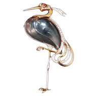 Crown Trifari Sterling Silver Jelly Belly Heron Brooch - Philippe