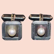 Sterling Set Mikimoto Cultured Pearl and MOP Cufflinks in Original Box