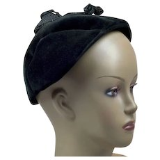 Absolutely Darling 1940s Black Velour Hat