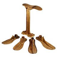Antique Cast Iron Cobbler Stand and Set of Five Lasts