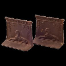 Vintage Egyptian Sphinx Cast-Iron Bookends